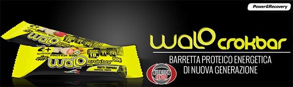 walo crok bar barretta della 4+ nutrition croccante e altamente concentrata in proteine del siero, ottimo snack proteico