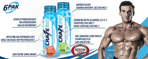 Craze Energy Shot pre workout liquido a rapido rilascio