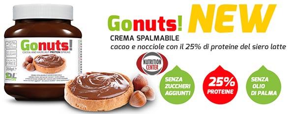 Cioccolata Proteica Gonuts! crema alle nocciole e cacao con aggiunta di proteine, senza olio di palma, grassi saturi ne zuccheri aggiunti