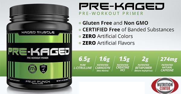 Pre-Kaged integratore pre allenamento con citrullina, vcaffeina, beta alanina e molti altri composti anabolici ed eergogenici