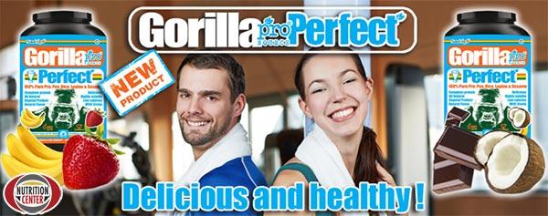 Gorilla Perfect proteina vegetale per vegani senza zuccheri ne dolcificanti artificiali, ideale per gli sportivi ma anche come normale alimento