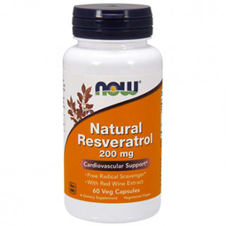 natural resveratrol 200mg 60cps now foods